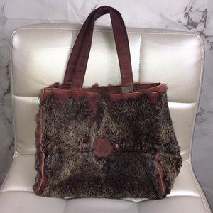 Chanel rabbit fur red hand bag purse